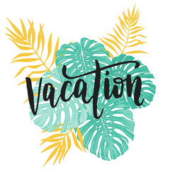 Vacation card with tropical leaf seamless pattern.