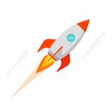 Rocket vector icon isolated, flat cartoon retro rocket space ship flying illustration