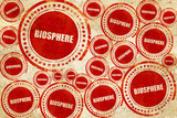 biosphere, red stamp on a grunge paper texture