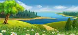 Nature landscape, stream valley, vector background