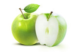 Fototapety Green apple and half of green apple isolated on white background with clipping path. Two juicy ripe colored apples on a white background isolated with clipping path.