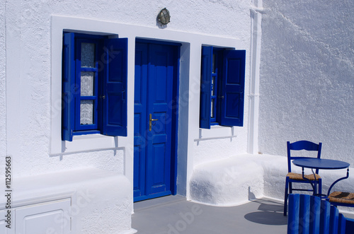 Blue door and windows - greek island