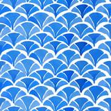 Watercolor blue japanese pattern. - 112600668