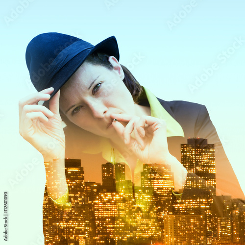 Poster double exposure of woman smoking and cityscape