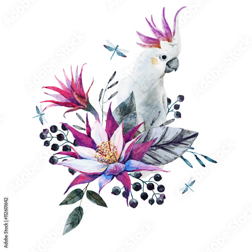 Watercolor tropical composition with white parrot - 112601642