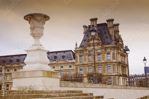 Paris France, view of Louvre museum from the tuileries garden Poster