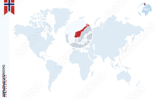 Plagát, Obraz Blue world map with magnifying on Norway.