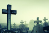 cementery with tombstones and crosses