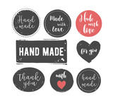 Fototapety hand drawn, handcrafted, handmade stamp set and ink stains, textures, abstract shapes