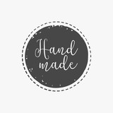 Fototapety hand drawn, handcrafted, handmade stamp and ink stain with durty texture shape