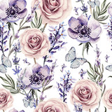 Watercolor pattern with the colors of lavender, roses and anemone. - 112612006