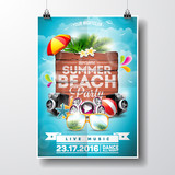 Fototapety Vector Summer Beach Party Flyer Design with typographic elements on wood texture background. Summer nature floral elements and sunglasses.
