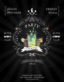 Fototapety cocktail party poster black and white