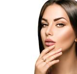 Fototapety Perfect woman lips with beige matte lipstick makeup