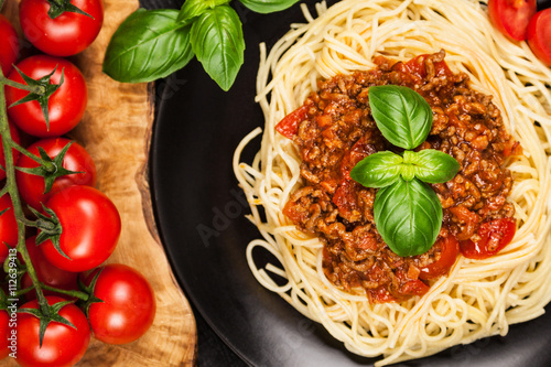 Poster Traditional spaghetti bolognese