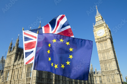 Poster European Union and British Union Jack flag flying in front of Big Ben and Westmi