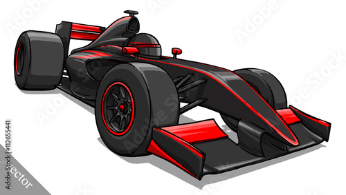 Fototapeta child's funny cartoon formula race car vector illustration art