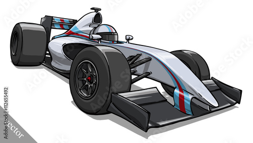 Fotobehang F1 child's funny cartoon formula race car vector illustration art