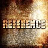 reference, 3D rendering, metal text on rust background