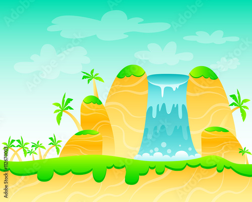 Foto op Canvas Groene koraal Waterfall and palm trees. Game Design. Vector illustration