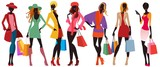 bags female silhouettes, colorful - 112671233