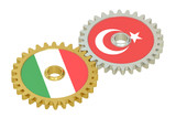 Italy and Turkey flags on a gears, 3D rendering