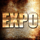expo, 3D rendering, metal text on rust background