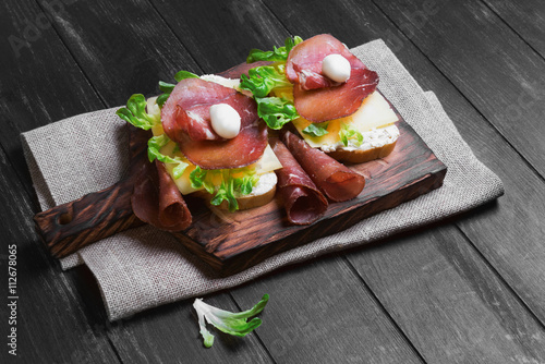 Two sandwiches bruschetta Poster