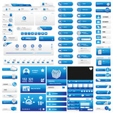 Blue user interface button set