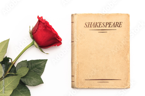 Foto Murales An old book by Shakespeare and a red rose sit on a white background