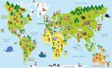 Śmieszna mapa świata z dziećmi różnych narodowości, zwierząt i pomników wszystkich kontynentów i oceanów. Ilustracji wektorowych dla edukacji przedszkolnej i projektowania dla dzieci.