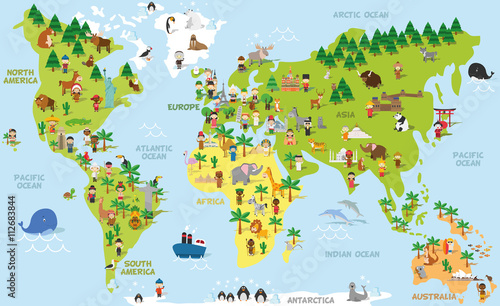 Canvas Wereldkaarten Funny cartoon world map with children of different nationalities, animals and monuments of all the continents and oceans. Vector illustration for preschool education and kids design.