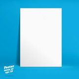 Vector : White paper poster in vivid blue studio room, Template