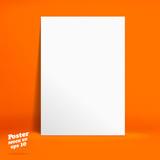 Vector : White paper poster in Vivid orange studio room, Templat