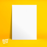 Vector : White paper poster in vivid yellow studio room, Templat