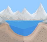 Geology and river floor scene vector nature background
