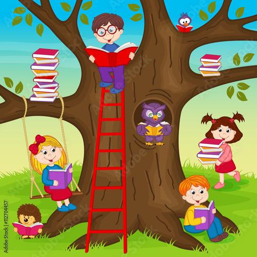 fototapeta na ścianę сhildren are reading books on a tree - vector illustration, eps