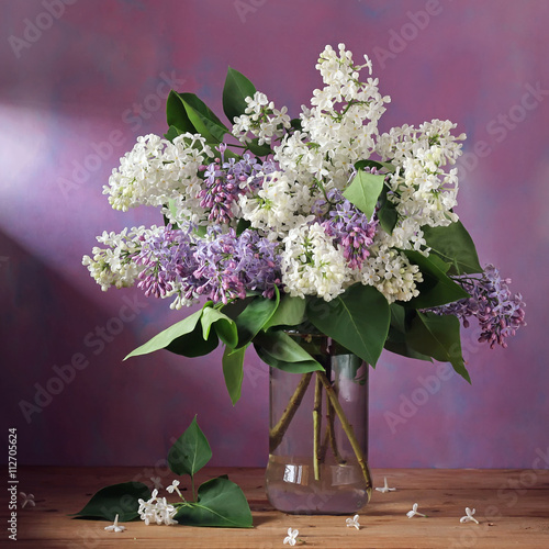 Branch of lilac in a glass jar on a purple background.
