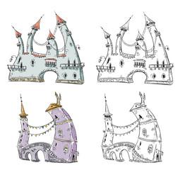 Fantasy houses illustration