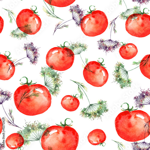Fototapeta Vintage seamless pattern on a white background. Vegetables, red tomatoes, cherry tomatoes, watercolor