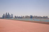view on cityscape of Dubai from pier on Palm Jumeirah