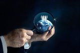 Networking and recruitment - Businessman with magnifying glass