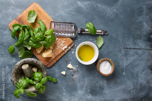 Ingredients for basil pesto плакат
