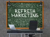 Refresh Marketing Concept Handwritten on Green Chalkboard with Doodle Icons. Office Interior with Modern Workplace. Dark Old Concrete Wall Background. 3D.