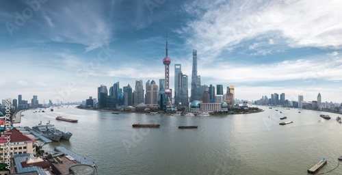 a panoramic view of shanghai skyline Poster