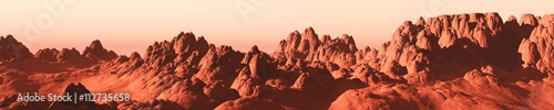 Fotobehang Baksteen Martian landscape, a panorama of the red planet