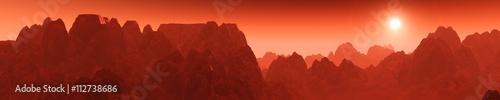 Aluminium Rood paars Martian sunrise, sunset on Mars
