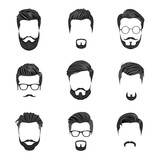Fototapety Hipster Hair, Mustaches and Beards. Hipster Style Vector Illustration.