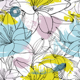 Color spots lily seamless pattern