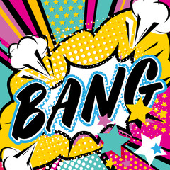 Pop art Bang quote type. Bang, explosion decorative halftone poster template vector illustration.